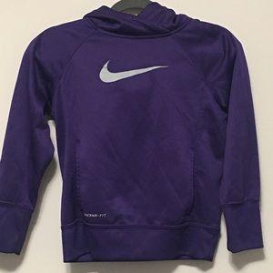 Nike Youth Purple swoosh Hoodie Medium therma fit